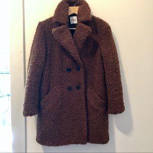 Zara Faux Fur Teddy Bear Oversized Coat